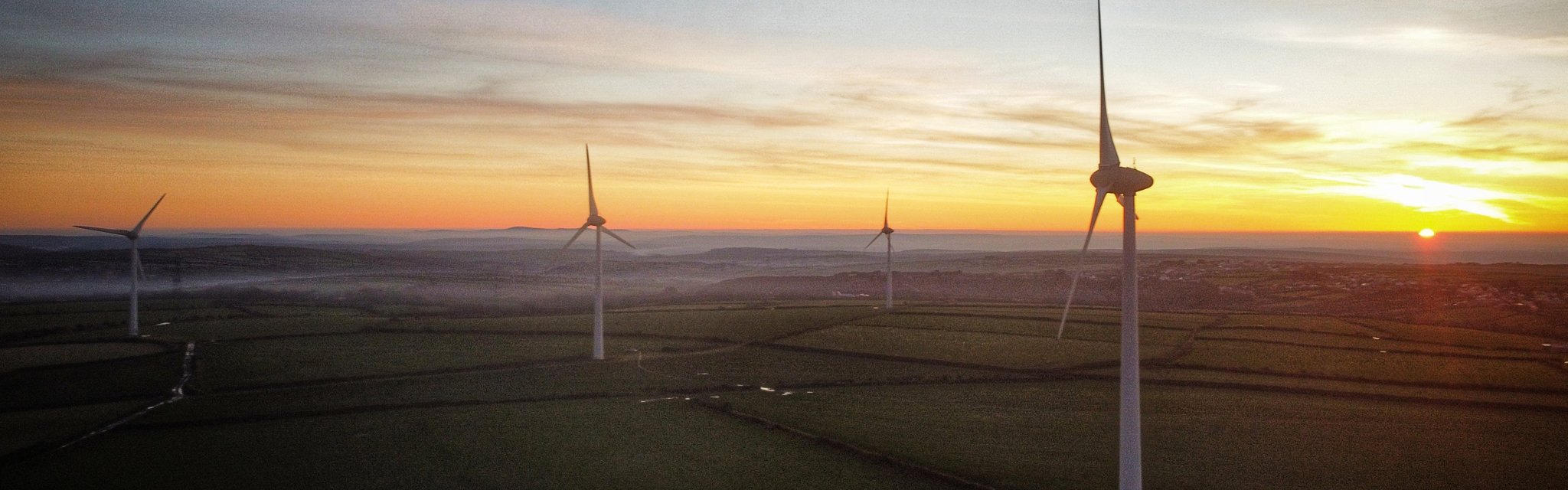 Windfarms at Sunset in North Cornwall